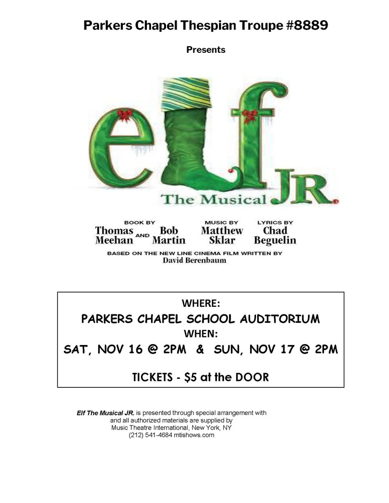 PC's Production of Elf, Jr., The Musical