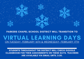 Transition to K-12 Virtual Learning for February 16th-17th